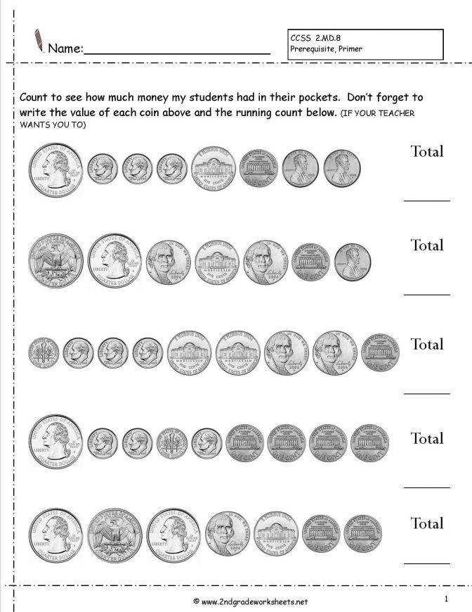 Counting Coins And Money Worksheets Printouts Free Printable Math For 3rd Grade Countingcoinshowmuchmoneywithqua Free Printable Money