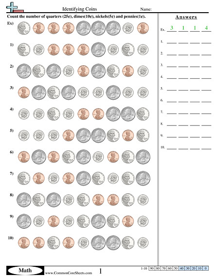 Identifying Coins worksheet Identifying Coins worksheet