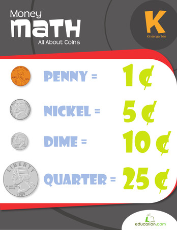 Kindergarten Math Workbooks Money Math All About Coins