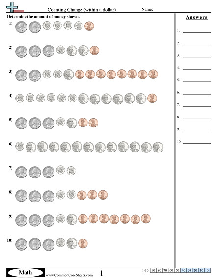 Counting Change within a dollar worksheet