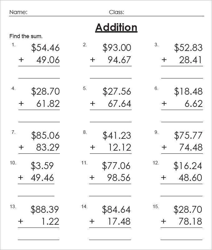 Addition of Money Worksheets For Kids