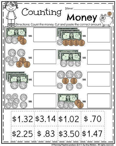 Money Worksheets for 2nd Grade Count Cut and Paste
