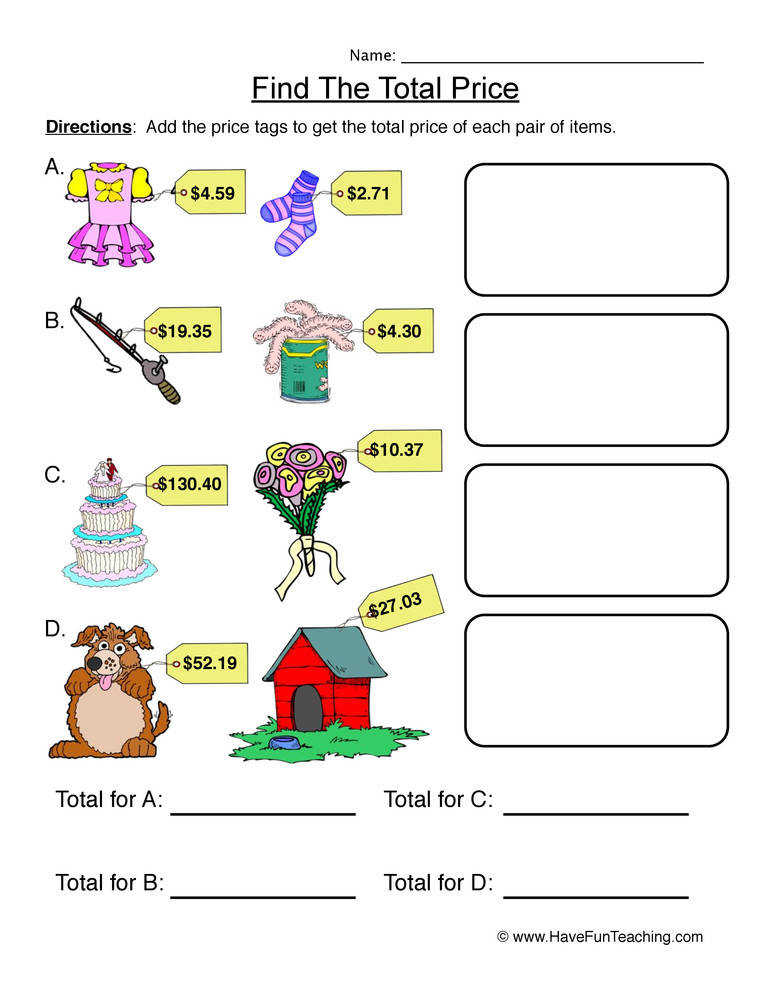 Find the Total Price – Adding Money Worksheet 1