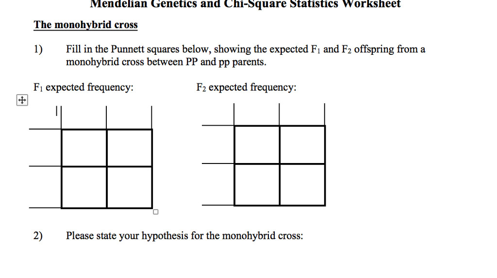 Question Mendelian Genetics and Chi Square Statistics Worksheet The monohvbrid cross Fill in the Punnett s