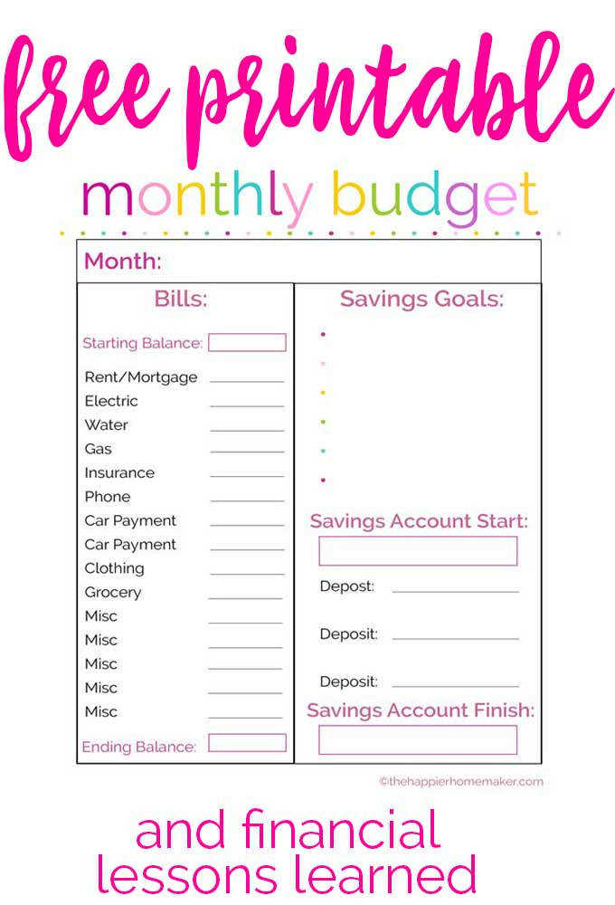 Free printable monthly bud worksheet and financial lessons learned