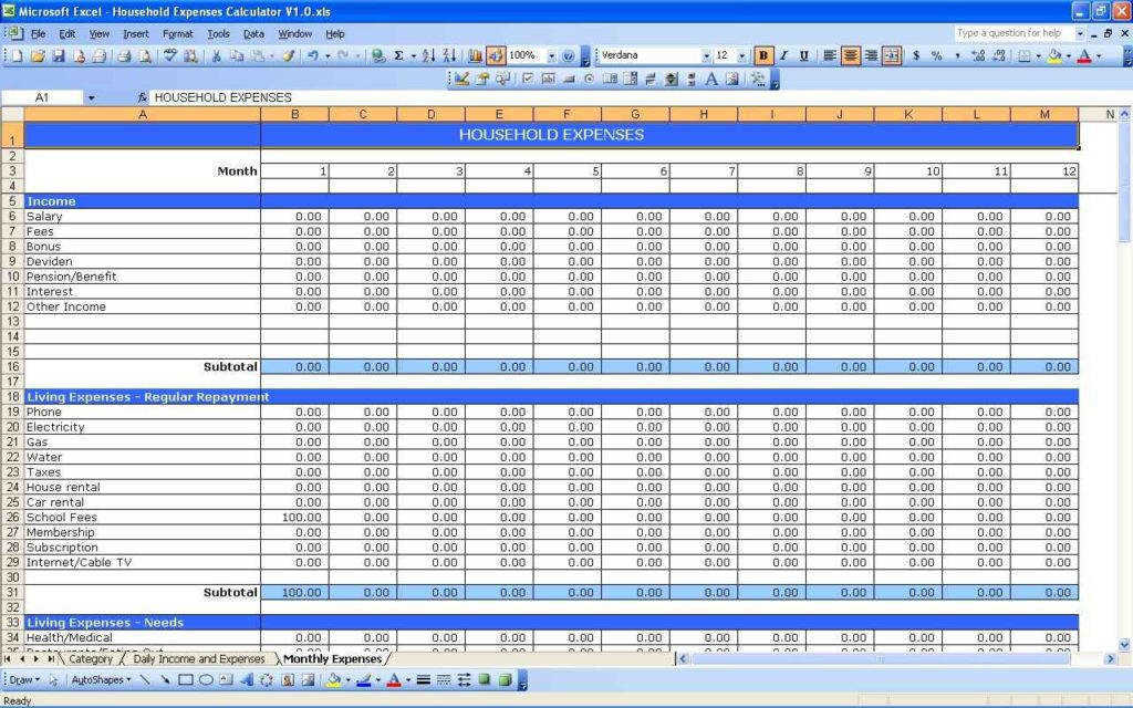 Monthly Spending Worksheet Small Business Expenses Spreadsheet