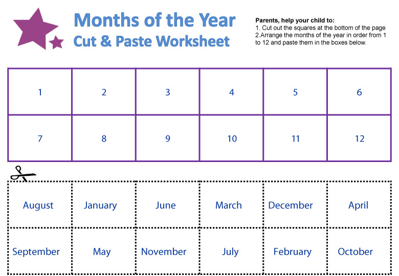 months of the year worksheet 2