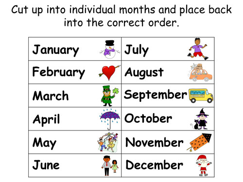 Awesome Collection of Months The Year Worksheets For Service