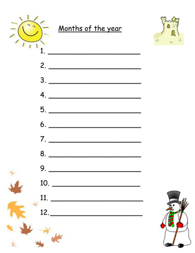 Months of the year worksheets for Mixed abilities by Robyn perry91 Teaching Resources Tes