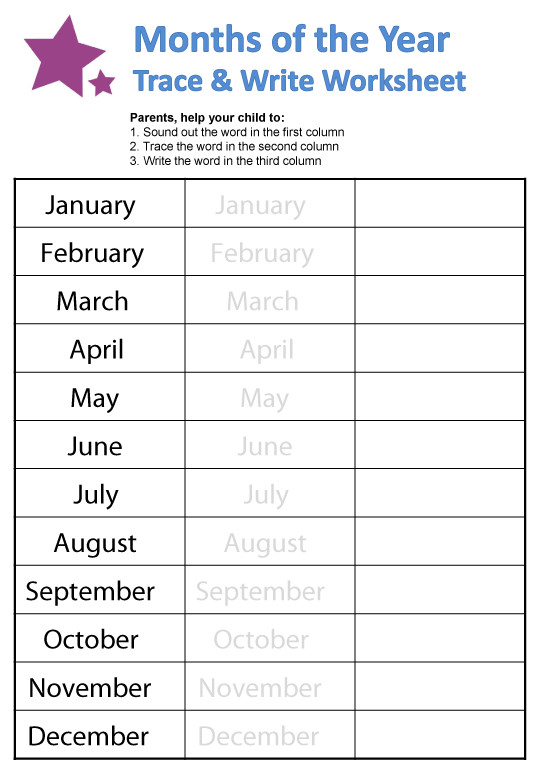 Months of the Year Worksheet 1