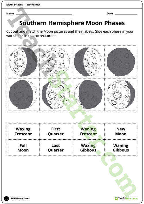 Moon Phases Posters and Worksheets Teaching Resource