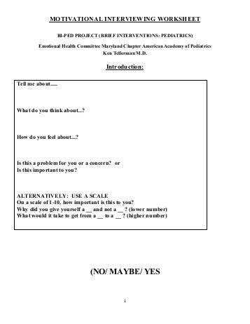Motivational Interviewing Worksheet Maryland Chapter American