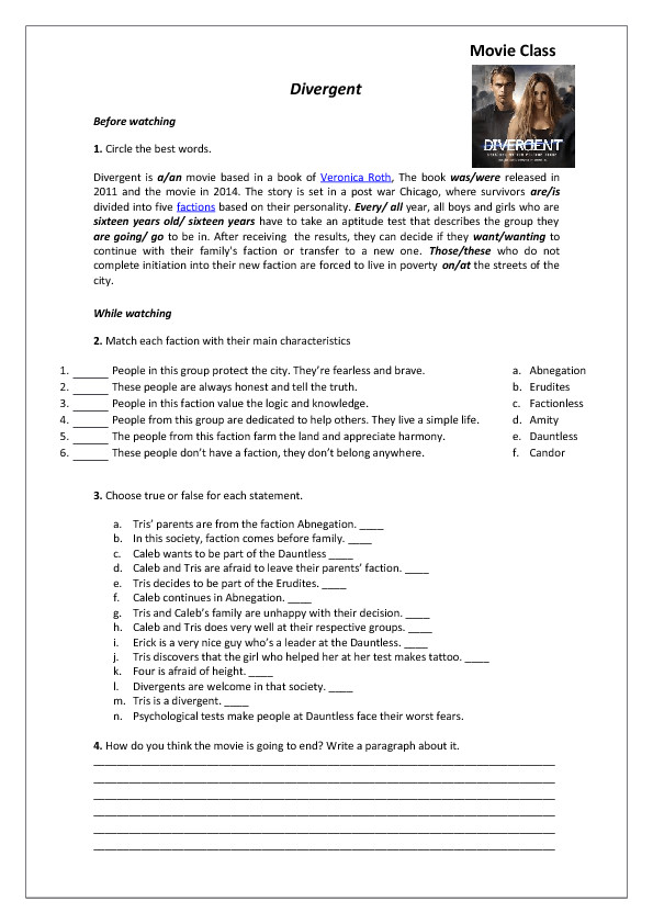 Movie Worksheet Divergent