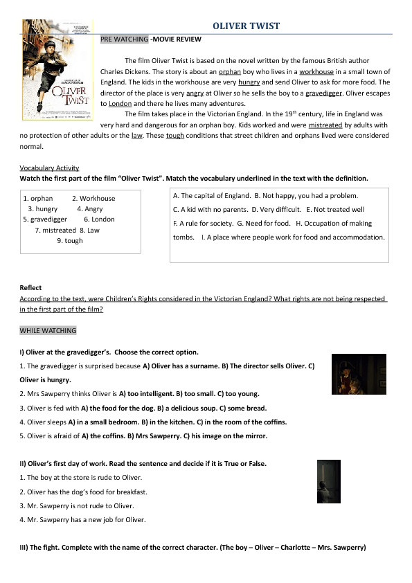 Movie Worksheet Oliver Twist 2005