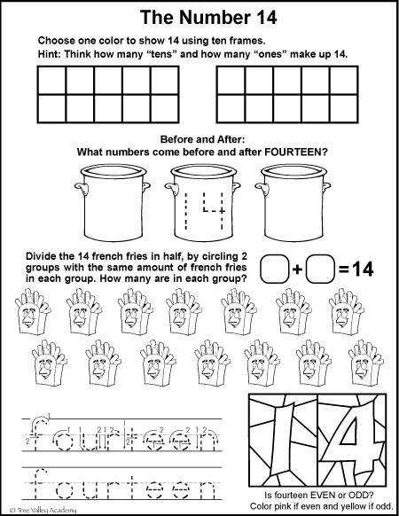 Free math printables for Kindergarten or Grade 1 A number study of 14 number
