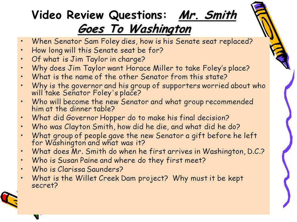 Video Review Questions Mr Smith Goes To Washington