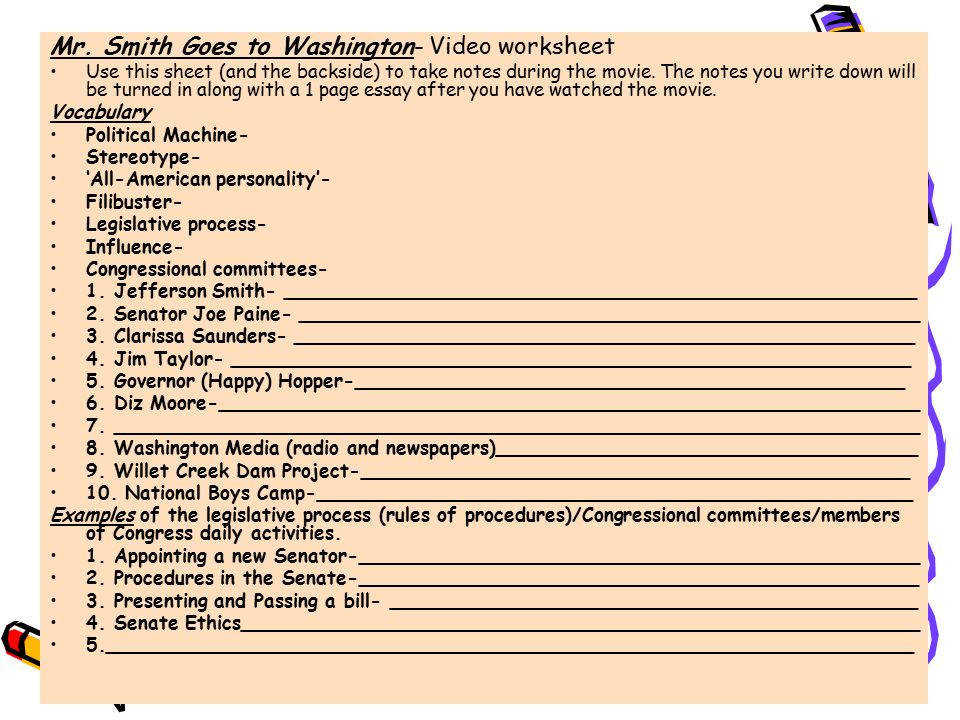 14 Mr Smith Goes to Washington Video worksheet
