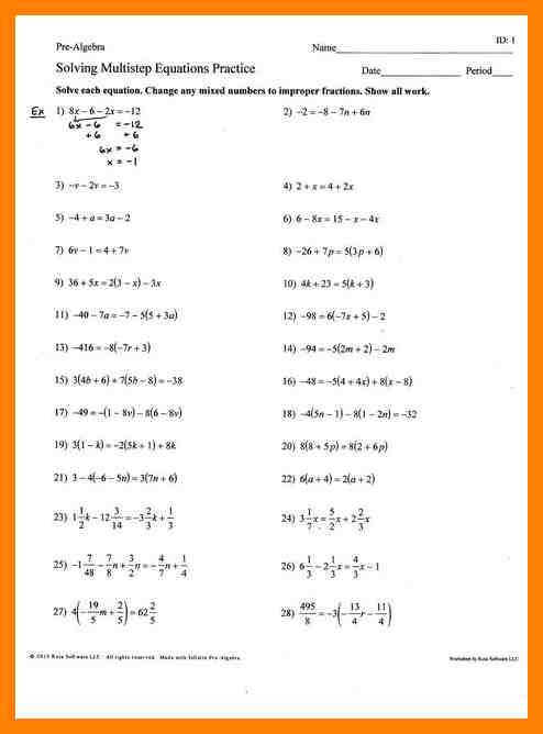 6 solve multi step equations worksheet