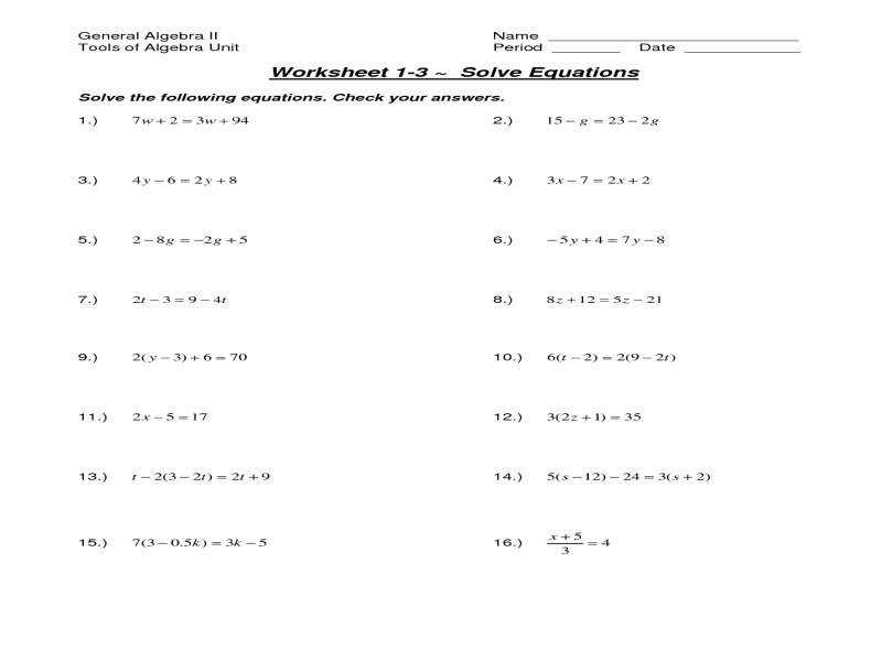 Solving Multistep Equations Worksheet Solving Multi Step Linear
