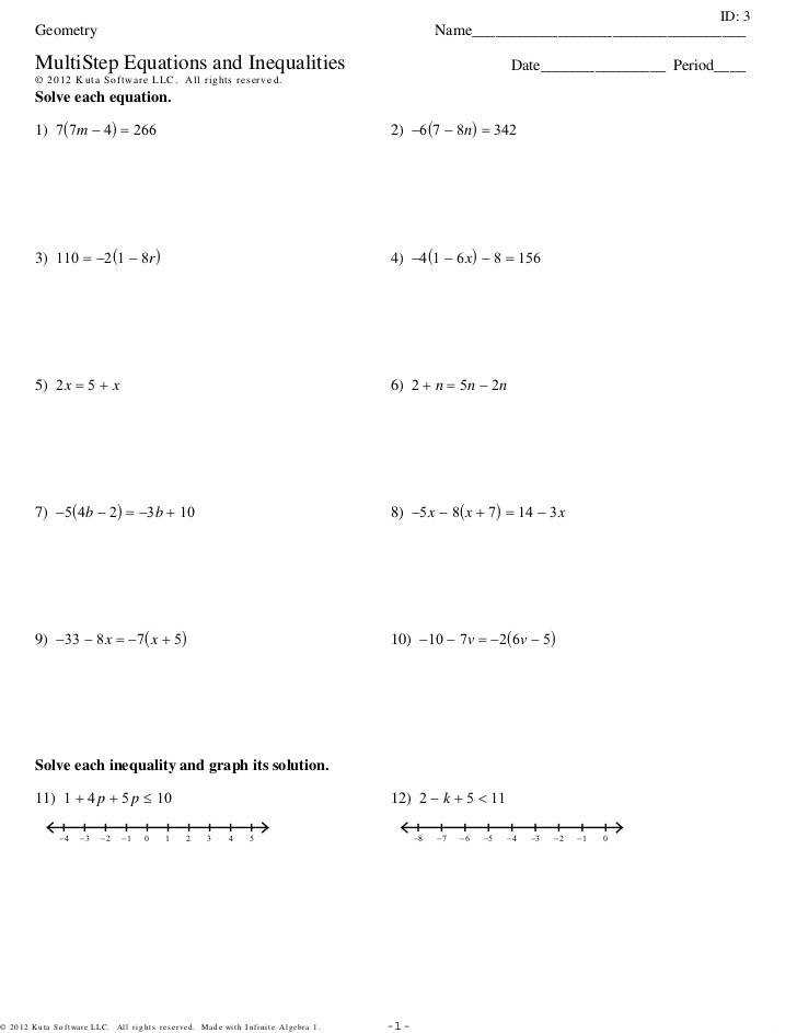 Solving Multi Step Equations Riddle Worksheet