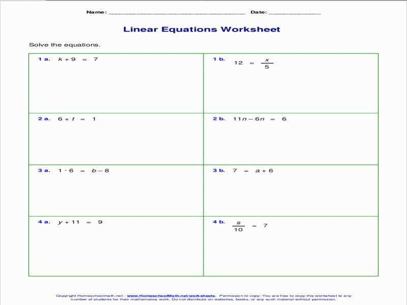 Free Worksheets For Linear Equations Grades 6 9 Pre Algebra · Eq06 Multi Step