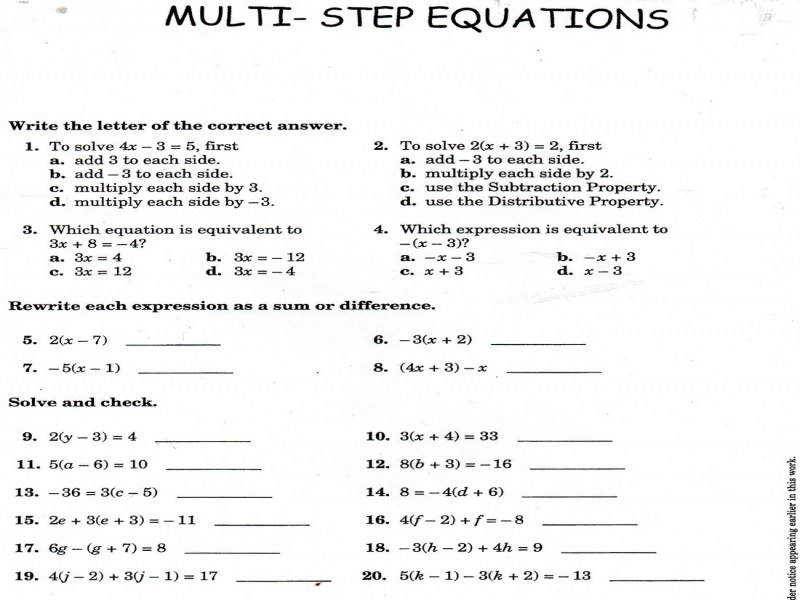 Algebra Solving Multi Step Equations Worksheets Math Games With