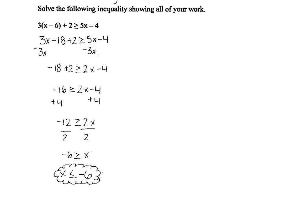 The student correctly solves the inequality and writes the solution set as x = 6