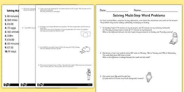 Differentiated Two Step Maths Word Problems Activity Sheet Pack maths problems worksheet
