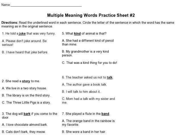 Multiple Meaning Worksheet 2 Matching