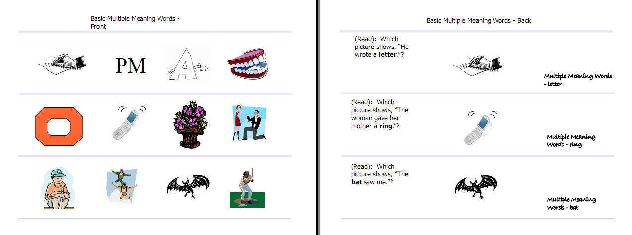 Letter A Words With Meaning Multiple Meaning Words Activities Worksheets Word Lists And