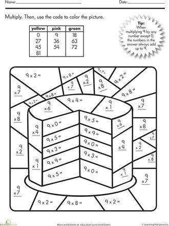 Multiplication Color by Number Printable Worksheets