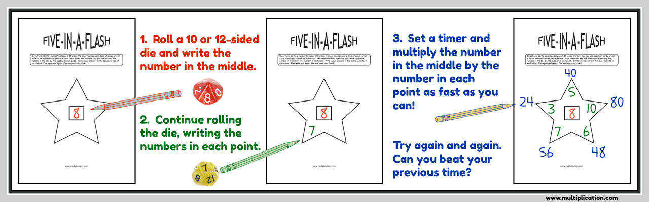 Download the free Five in a Flash Drill Worksheet PDF Bundle This Includes