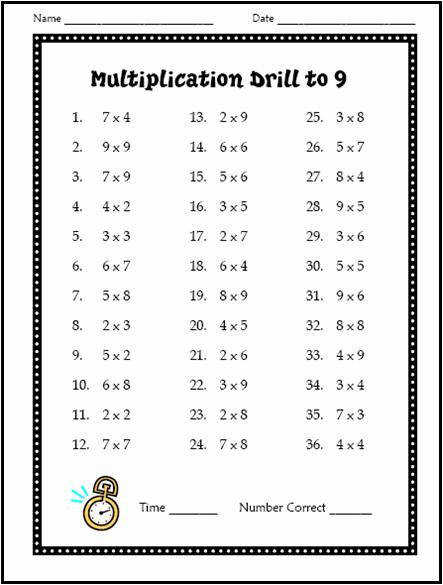 Multiplication Drill Multiplication Drill Worksheet