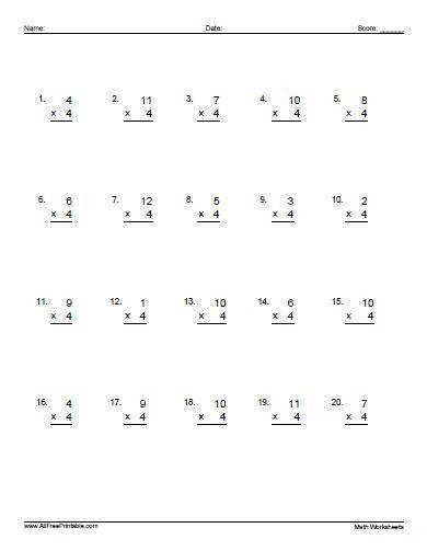 Multiplying 1 to 12 by 4 A Multiplication Worksheet