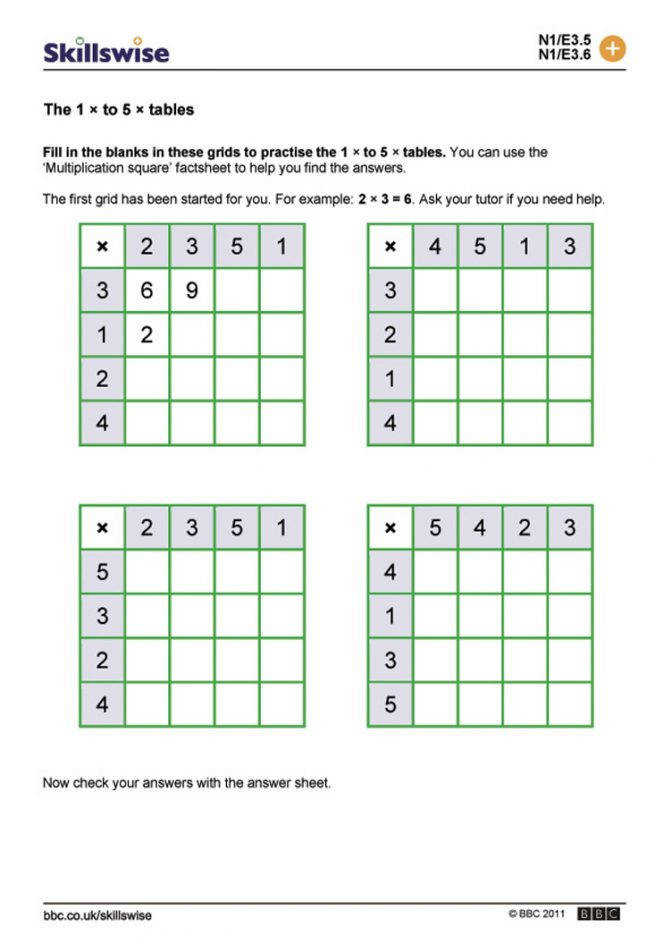 The 1 To 5 Tables Grid Multiplication Worksheets Year Ma13tabl E3 W Times 752 Multiplication Grid