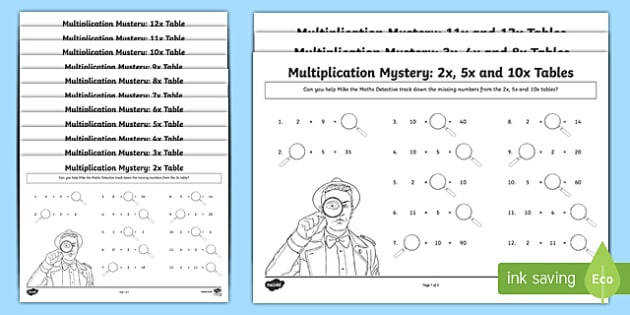 Multiplication Tables Missing Numbers Activity Sheet worksheet