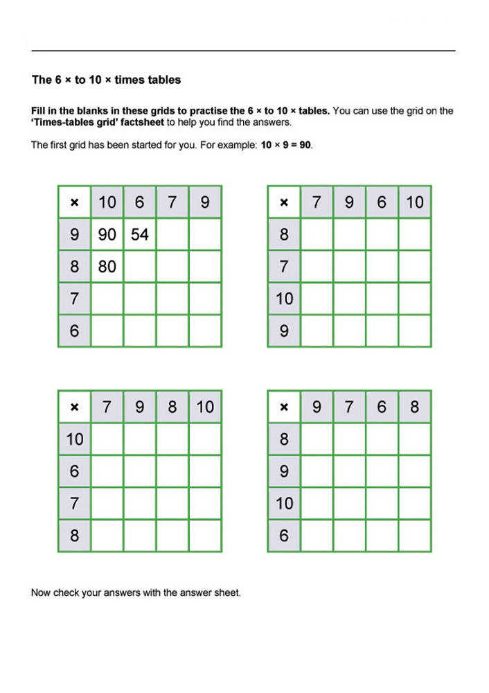 times tables worksheets easy