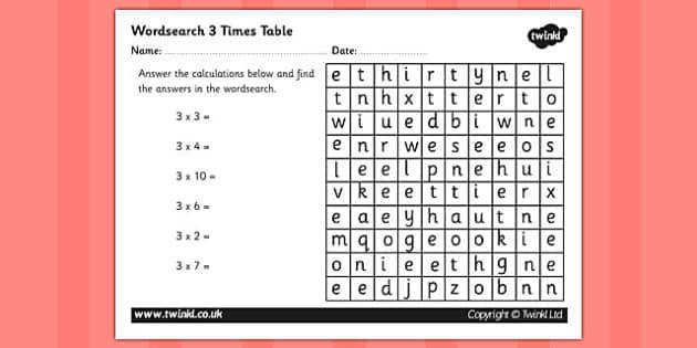 T N 876 Multiplication 3 Times Tables Wordsearch Worksheet ver 1