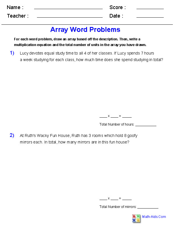 Word Problems with Arrays Worksheets