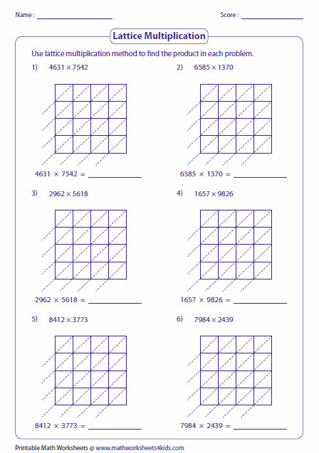 4 digit numbers Lattice Multiplication