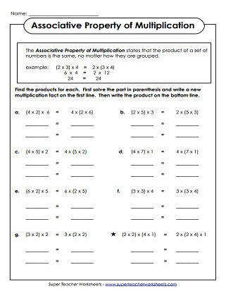 Multiplication Properties Worksheets
