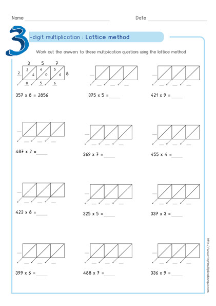 lattice multiplication 3 digit by 1 digit worksheet