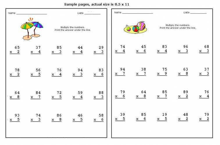 Multiplying 2 Digit by 1 Digit Numbers A Long Multiplication Multiplication Practice Worksheets Grade 3
