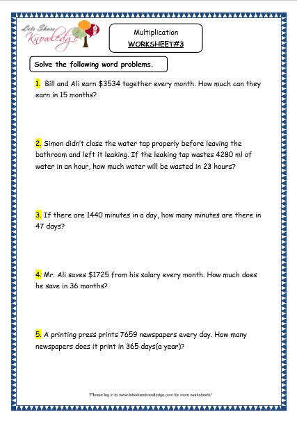Grade 4 Maths Resources 1 6 3 Multiplication Word Problems Printable Worksheets