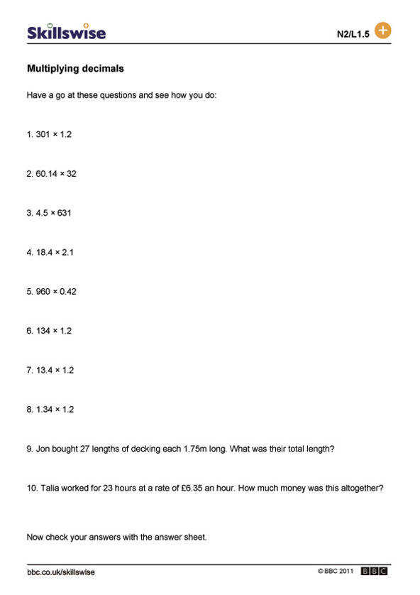 Decimals worksheet preview