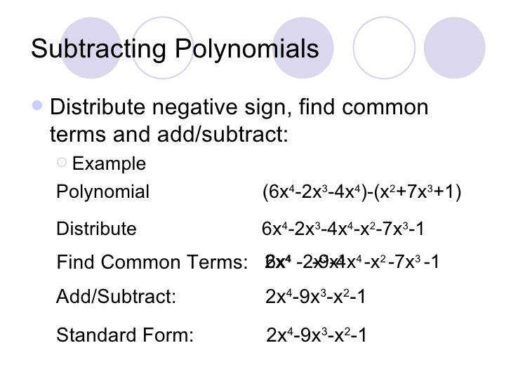 5 Subtracting Polynomials