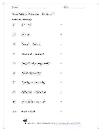 Factoring Polynomials Five Worksheet Pack Math Worksheets Land
