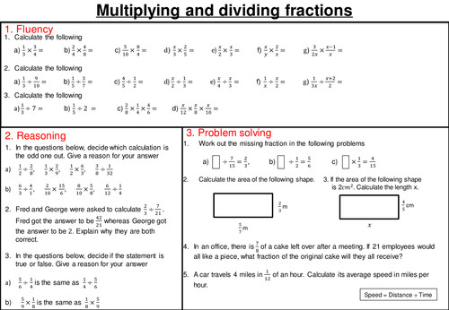Multiplying and dividing fractions mastery worksheet
