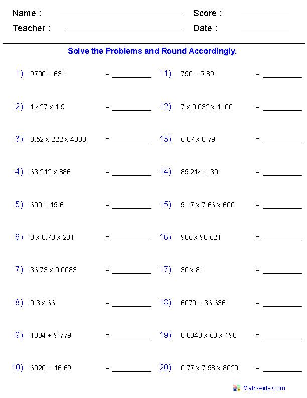 Multiplying and Dividing with Significant Digits Worksheets