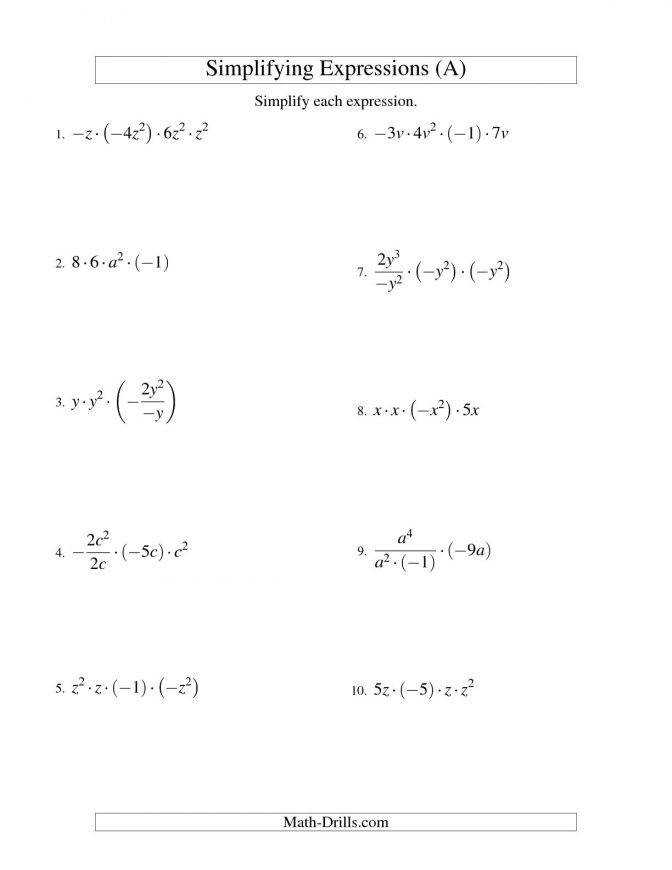 Simplifying Algebraic Expressions With e Variable And Four Terms Multiplying Dividing Radicals Worksheet Answers Algebra Expressions